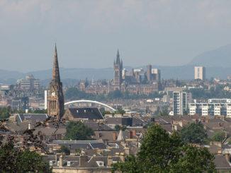 Vista general de Glasgow desde Queens Park (Escocia, Reino Unido)