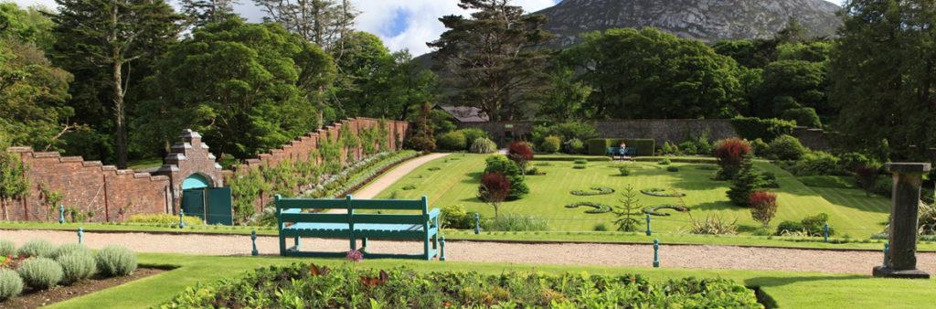 Vista de los jardines de la abadía de Kylemore. Autor: Turismo de Irlanda.