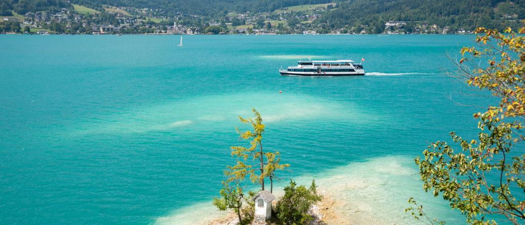 El lago Wolfgangsee es uno de los más bonitos de Austria.