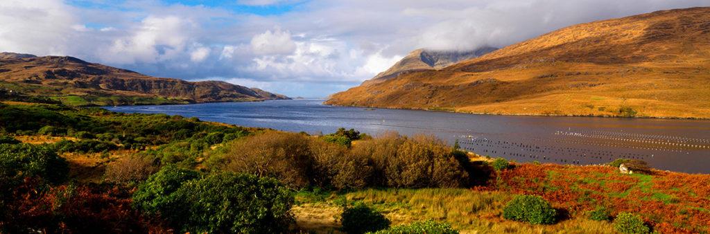 Vista de Killary, fiordo en el oeste de Irlanda, en el norte de Connemara. Autor: Turismo de Irlanda