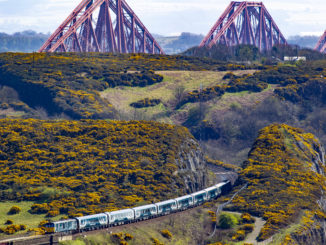 Caledonian Sleeper trains travelling over Forth Bridge credit Peter Devlin