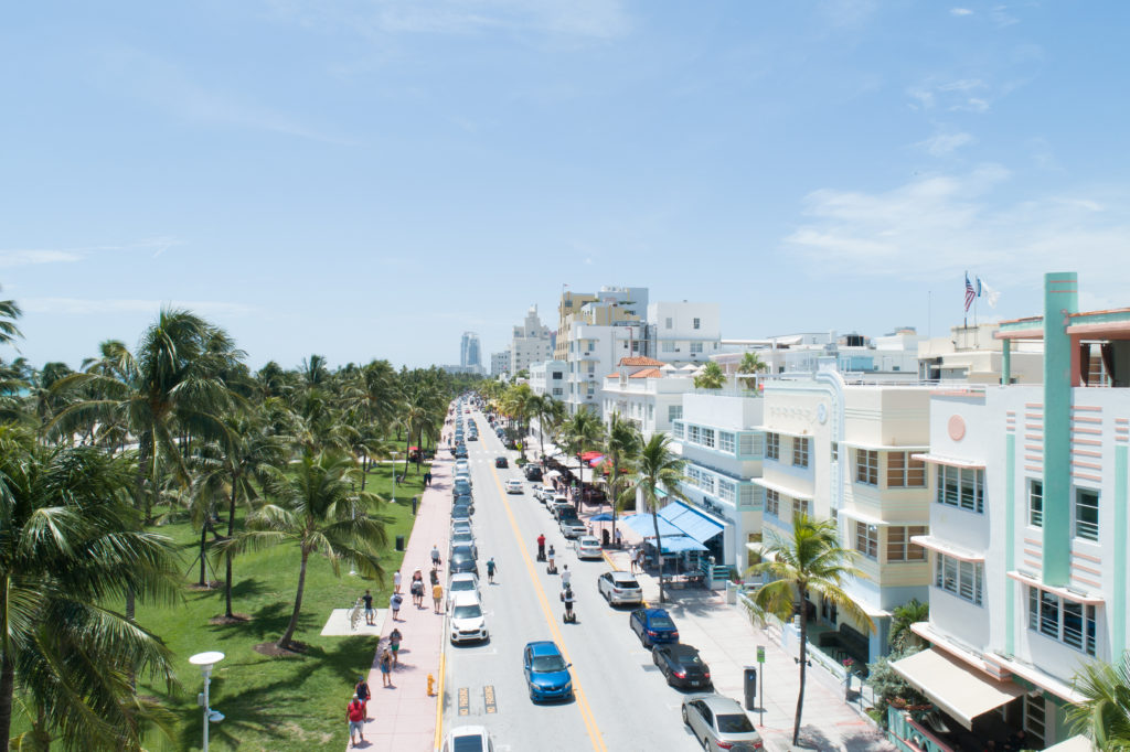 South Miami Beach Ocean Drive Crescent Hotel People Segway Sunny Aerial 20180811 390