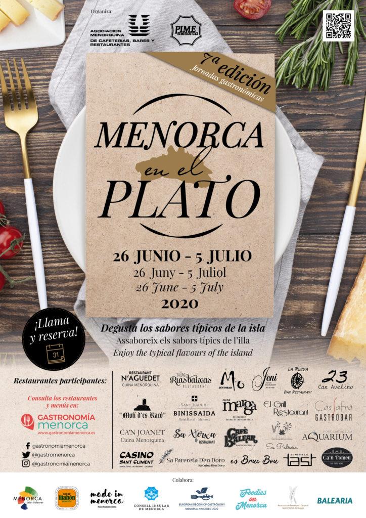 Cartel Menorca en el Plato 2020 Vertical