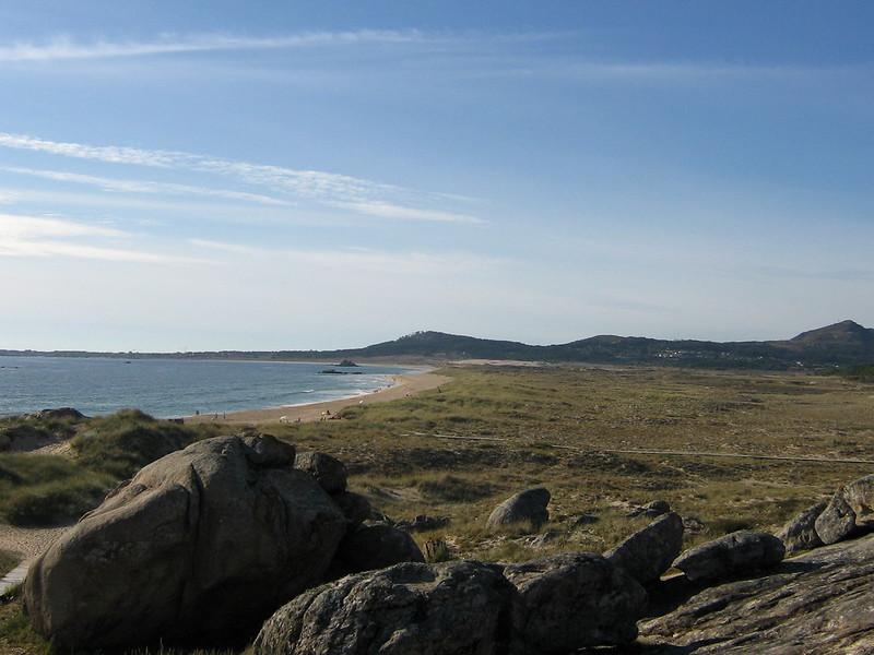 Playa de Vilar en el Parque de las Dunas de Corrubedo (A Coruña, Galicia).