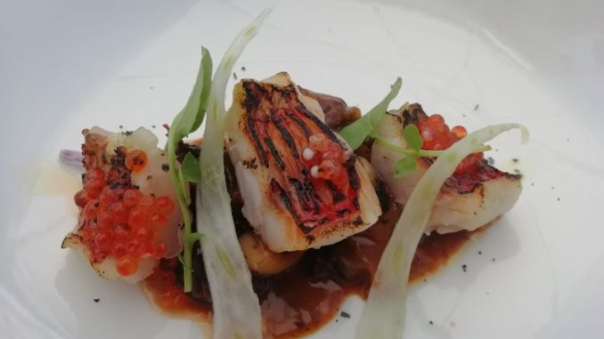 Salmonete, plato del restaurante Peix Blau (Denia)